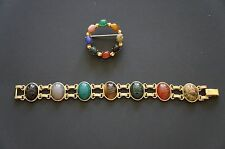"Vintage Scarab 7"" Bracelet and Pin   1/20 12k G.F. Gold Filled"