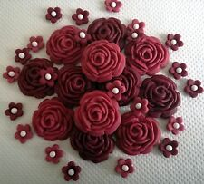 32 SHADES OF BURGUNDY ROSES Edible cake topper decoration
