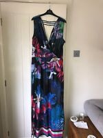julien macdonald Star Size 18 Maxi Long Black Floral Jersey Dress BNWT