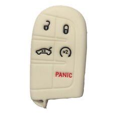 White Silicone Key Fob Case Cover Fob Keyless Remote Holder fit for JEEP DODGE