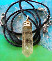 SOLID SMOKY QUARTZ CRYSTAL AND SILVER SIX SIDED PENDANT WITH HEMP CHAIN