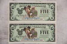 2001 MICKEY MOUSE 2x CONSECUTIVE $5 DISNEY DOLLARS UNC A00134619A -20A ADVENTURE