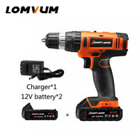 LOMVUM Electric Drill Screwdriver Cordless Impact Home Power Tool 12V+2x Battery