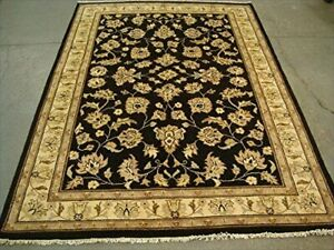 Black Chobi Zeigler Mahal Vege Dyed Area Rugs Hand Knotted Carpet (7.11 x 5.8)'