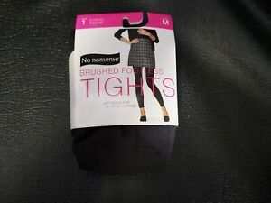 No nonsense Brushed Footless Fleece Tights Cobblestone Color Size Medium New