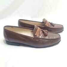 SHOEMART Per-Lon Genuine Brown Leather Tassel Dress Shoes, Men's Sz 8.5 [A70]