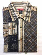 Buffalo David Bitton Men's Long Sleeve Dress Shirt Brown Geometric  Stripe M