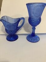 AVON Cobalt  BLUE GEORGE WASHINGTON MT VERNON GOBLET AND 1 PITCHER Creamer