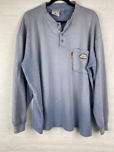 Rasco FR Men's Size 2XL Shirt Blue Long Sleeve Flame Resistant *Read