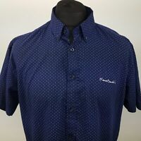 Pierre Cardin Mens Shirt LARGE Short Sleeve Blue Regular Fit  Cotton