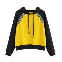 Fashion Womens Color Patchwork Long Sleeve Hoodie Sweatshirt Pullover Top Blouse