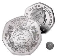 Isle of Man 2016 Christmas Pudding 50p Coin UNC