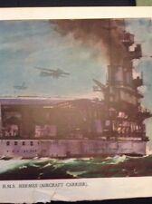 A1-1 Ephemera 1940s Book Plate H M S Hermes Aircraft Carrier