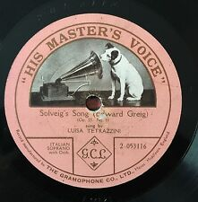 "RARE 78RPM 12"" ONE SIDED LUISA TETRAZZINI SOLVEIG'S SONG EDWARD GREIG PEER GYNT"