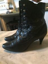 VTG '80s victorian granny steampunk gothic laced womens boots sz 10 B