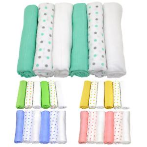 MuslinZ 6PK Baby Muslin Squares Cloths 70cms 100% Pure Soft Cotton Spots