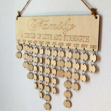 Family Wooden Hanging Calendar Plaque Birthday Reminder Sign Home Wall Decor