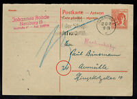 1948 Hamburg Germany Reply Postcard Cover
