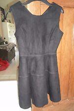 BNWT Z.A Faux Suede Black Panel Sleeveless Skater Dress Size Medium UK 10-12