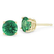 14K SOLID YELLOW GOLD GREEN EMERALD ROUND SHAPE STUD PUSH BACK EARRINGS All Size