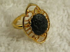 Adjustable Filigree Goldtone Black Rose Cabochon Ring (A15)