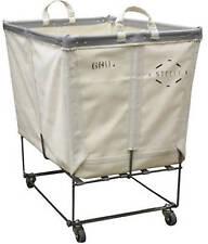 Laundry Cart - White Canvas Basket Truck on Wheels