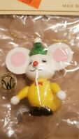 Vintage Williamsburg Pottery Mouse Christmas Ornament Plastic