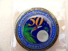 NASA Kennedy Space Center 50th Anniversary Coin made with Mission FLown Metal