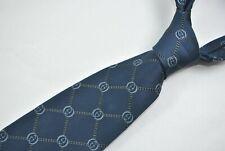 GUCCI MONOGRAM Tie 100% Silk GUCCI Pattern GG Pattern Blue/Black Color L60 W3.7