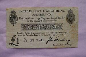 Treasury Banknote BRADBURY One £1 Pound 1914 D1/49 89411 Nice pin-holed note!