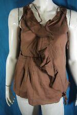 SOLOLA Taille 42 très jolie chemise manches courtes marron femme coton blouse