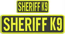 Sheriff k9 embroidery patches 3x10 and 2x5 hook on back yellow letters