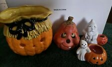 Lot of 4 Halloween Decorative Candle Holders. Diff.sizes. 2 ghost/2 jackolantern