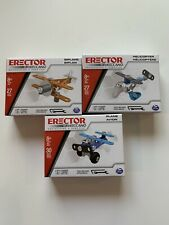 (3) Erector Kits by Meccano Plane Biplane Helicopter Engineering & Robotics New