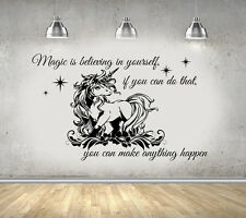 Unicorn With Quote Girls Bedroom Large Wall Art Sticker/Decal UK Seller