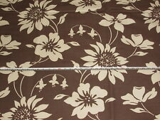 'Cicely' Ebony Brown, Romo Licia Linen Cotton Floral Furnishing Fabric 2.5 mts