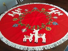 Vintage Handmade Felt Sequin Christmas Tree Skirt Reindeer - uncut