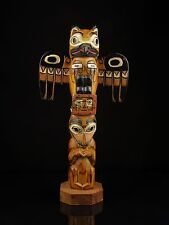 "A Vintage Alaskan Carved Wood Totem Pole, Signed ""Patrick Seale*."