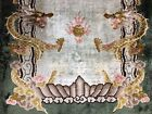 Old Used Chinese Silk Handmade Dragon Wall Hanging Rug Carpet Size:4.8 By 2.4 Ft