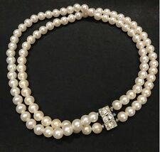 Vintage Jewelry - 1940s Art Deco White Faux Pearl & Rhinestone Clasp Necklace