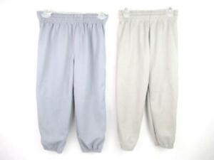 Lot of 2 Pairs of Kid's Baseball Pants Size Youth Large Grey Augusta High Five