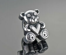 3PCs Bear Heart Antique Silver Teddy Spacer Bead Fits European Charm Bracelets