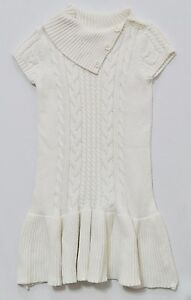 "Gymboree ""Alpine Sweetie"" Ivory Chunky Cable Knit Sweater Drop Waist Dress, 6"