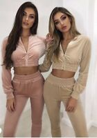 Women's Velour Crop Jacket track suit S,M,L Pink And Champagne