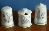 A set of hand painted Heather Buchan Scottish Stoneware salt pepper mustard