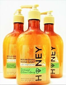 Bath Body Works SUNKISSED CITRUS & HONEY Nourishing Hand Soap, 8 fl. oz, NEW x 3