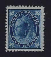 Canada Sc #70 (1898) 5c dark blue Maple Leaf Mint VF NH MNH