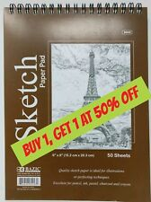 """6"""" x 8"""" Spiral Sketch Pad Book Bazic 50 Paper Sheets for Pencil Ink Pastel"""