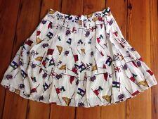 """Vtg Ann Taylor 100% Silk Nautical Yacht Flags Sailing Pleated Skirt 30"""" Waist"""