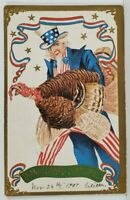 Thanksgiving Uncle Sam Brings the Turkey c1907 Emb Postcard O8